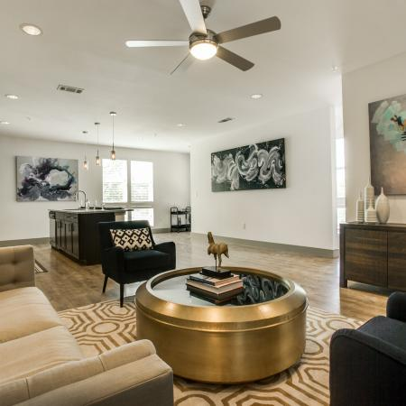 Residents Lounging in the Living Area | Dallas TX Apartments | Loft + Row