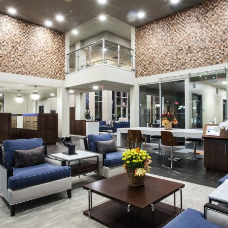 Lobby lounge area with storage lockers available