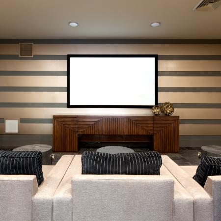 Theater room with lounge seating