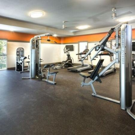 Large Fitness center open 24/7 and TV screen