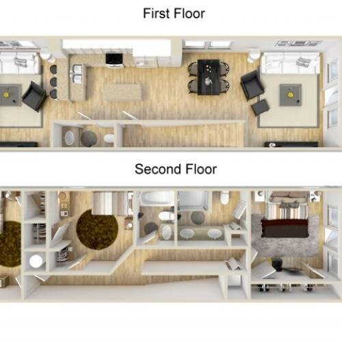 Three bedroom two and a half bath town home 3D floor plan
