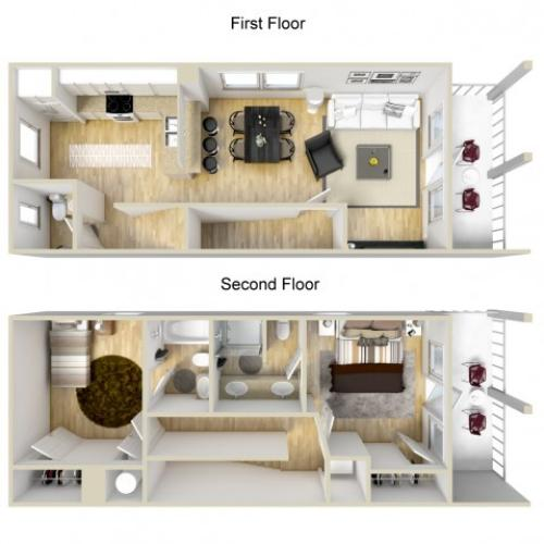 Two bedroom two and a half bath town home 3D floor plan