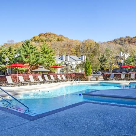 Swimming Pool with Lounge Chars and Umbrellas | Apartments In Nashville TN | Bellevue West 1
