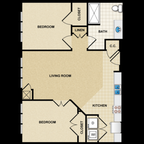2 bedroom 1 bathroom apartment