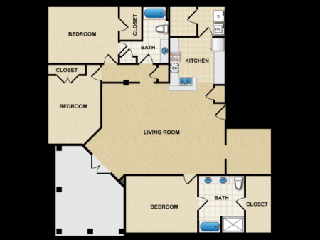 3 bedroom apartment in canton
