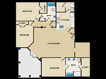 three bedroom two bathroom apartment