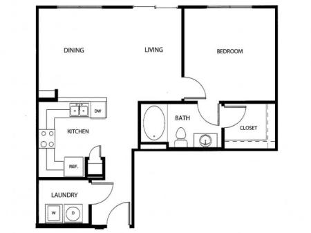 One bedroom one bath, kitchen, kitchen pantry, living room, dining room, laundry room, one closet and patio, A4-2 floor plan, 768 square feet