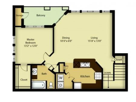 1 bedroom 1 bath apartment with dining area, private balcony, storage space, fire place and 982 square feet.