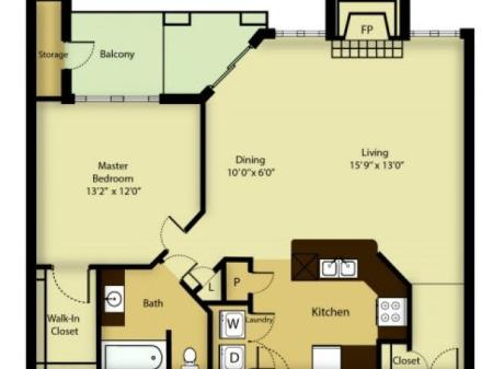1 bedroom 1 bath apartment with dining area, private balcony, storage space, fire place and 962 square feet.
