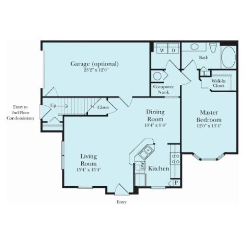 One Bedroom One Bathroom Floor Plan