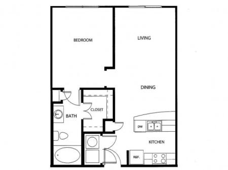 One bedroom one bath, kitchen, kitchen pantry, living room, dining room, laundry room, one closet and patio,  AOA-2 floor plan, 744 square feet.