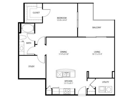 One bedroom one bath, one study, kitchen, kitchen pantry, living room, dining room, laundry room, one closet and patio,  A3-6 floor plan, 1054 square feet.