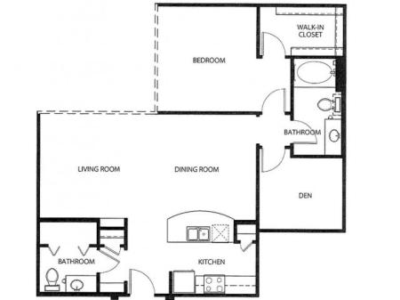 One bedroom one bath, kitchen, kitchen pantry, living room, dining room, laundry room, one, A3- 5 floor plan, 1056 square feet.