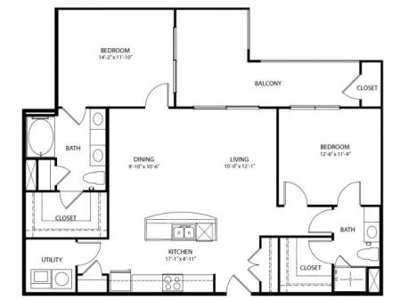 Two bedroom, two bath, kitchen, pantry, coat closet, living/dining room, two walk in closets, linen closet and laundry room. 1215 square feet B4-3 floor plan.