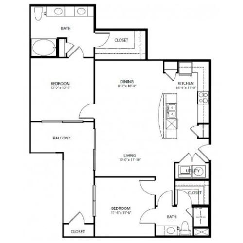 Two bedroom, two bath, kitchen, pantry, coat closet, living/dining room, two walk in closets, linen closet and laundry room. 1148 square feet B5-3 floor plan.