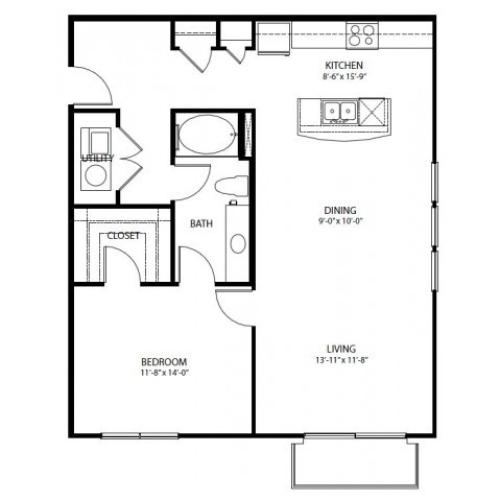 One bedroom, one bathroom. Kitchen, living room, patio with storage, walk in closet, laundry room. A7-3 floor plan, 965 square feet.