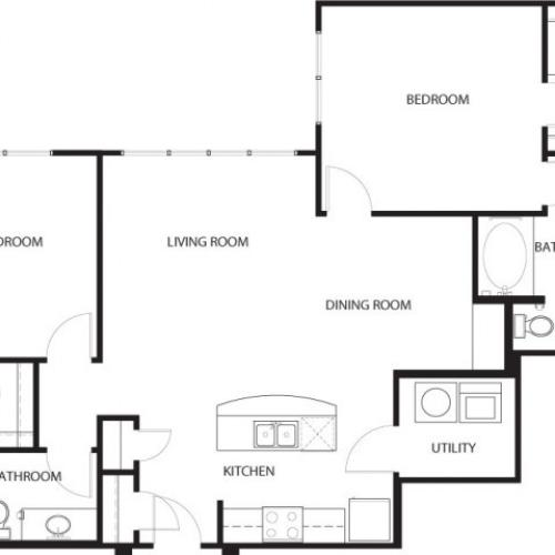 Two bedroom, two bathroom, living room, dining room, kitchen, two walk in closet, laundry room, utility closet, coat closet, and pantry. 1230 square feet B3-5 floor plan.