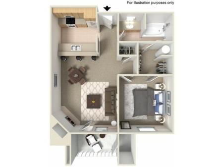 1 Bed 1 Bath, Patio A1