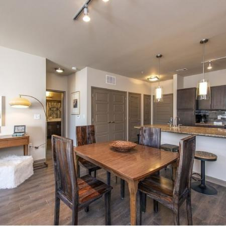 Spacious Dining Room with View into Kitchen| Apartment in Nashville, TN | 909 Flats