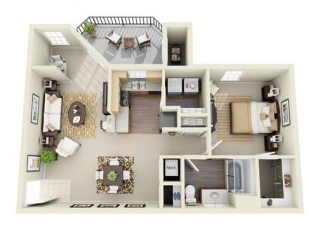 One Bedroom One Bathroom Floor Plan The Oxford - Classic