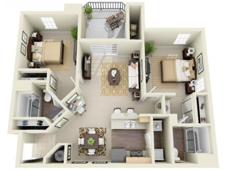 Two Bedroom Two Bathroom Floor Plan The Belford - Classic