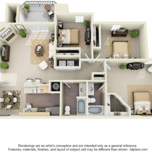 Three Bedroom Two Bathroom Floor Plan The Everest - Classic
