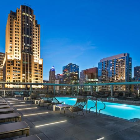 Heated rooftop pool with city views