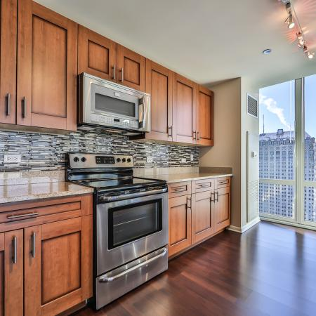 Fully equipped kitchen with city views