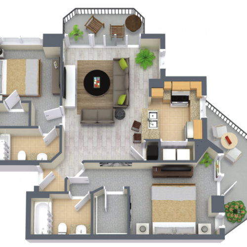 Aventine 1271 Square Feet Two Bedroom | Two Bathroom