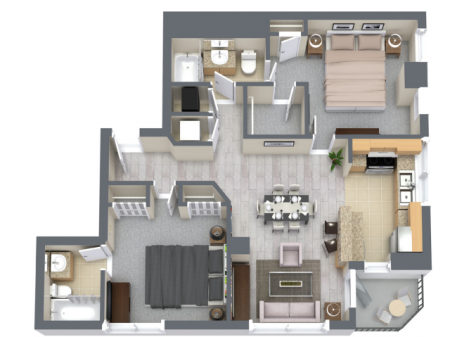 Portofino 1183 Square Feet Two Bedroom | Two Bathroom