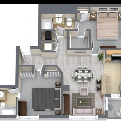 Portofino 1183 Square Feet Two Bedroom | Two Bathroom