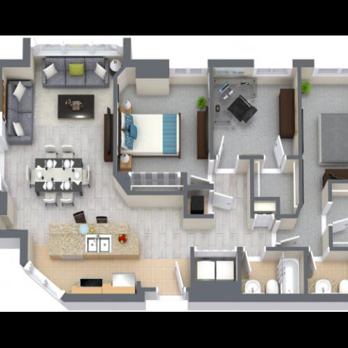 Peninsula 1521 Square Feet Three Bedroom | Two Bathroom