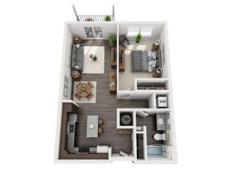 1 Bdrm Floor Plan | st clair pa apartments | The Ashby at South Hills Village Station 1