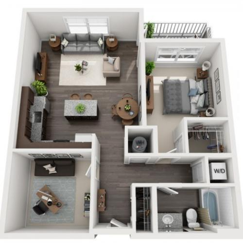 1 Bedroom Floor Plan | apartments in mt lebanon pa | The Ashby at South Hills Village Station 3