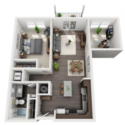 A2.1- ONE BEDROOM ONE BATH WITH DEN