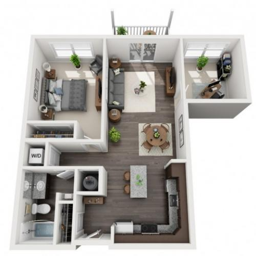 1 Bedroom Floor Plan | apartments in mt lebanon pa | The Ashby at South Hills Village Station 2