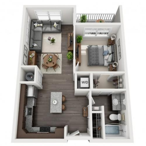 1 Bedroom Floor Plan | apartments in mt lebanon pa | The Ashby at South Hills Village Station 9