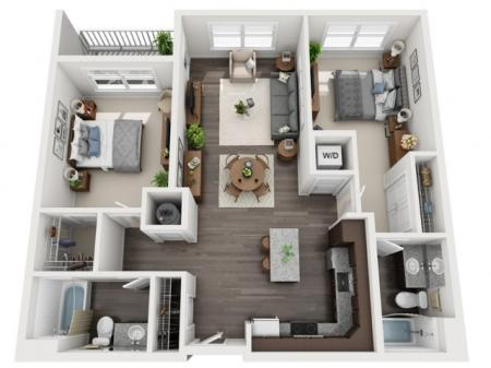 2 Bedroom Floor Plan | apartments for rent bethel park pa | The Ashby at South Hills Village Station 1
