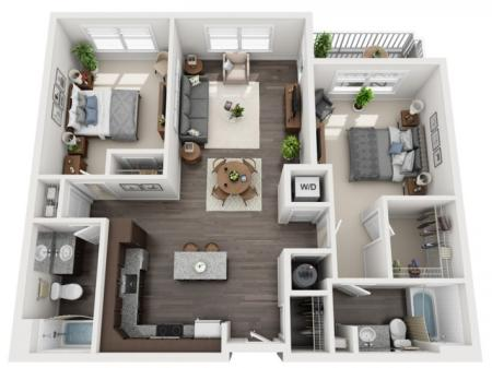 2 Bedroom Floor Plan | apartments for rent bethel park pa | The Ashby at South Hills Village Station 2