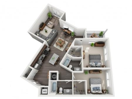 2 Bedroom Floor Plan | apartments for rent bethel park pa | The Ashby at South Hills Village Station 8