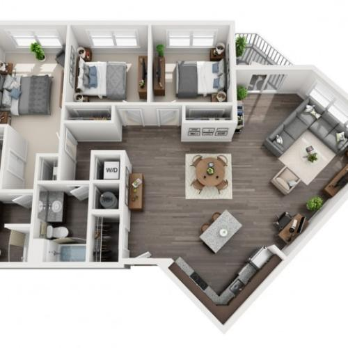 3 Bedroom Floor Plan | 3 bedroom houses for rent in pittsburgh pa | The Ashby at South Hills Village Station 1