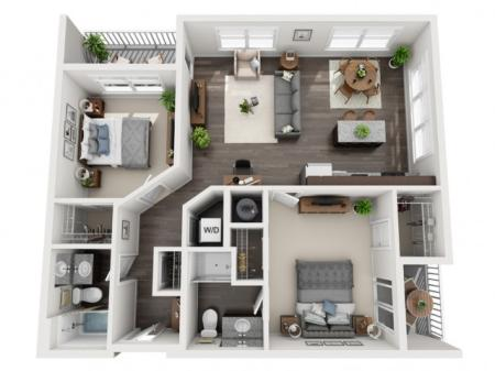 2 Bedroom Floor Plan | apartments for rent bethel park pa | The Ashby at South Hills Village Station 4