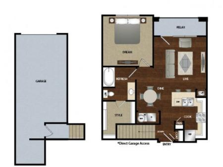 One bedroom one bath, kitchen, kitchen pantry, dinning room, living room, one closet and patio with attached garage.
