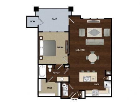 One bedroom one bath, kitchen, kitchen pantry, dinning room, living room, one closet, laundry room and patio with storage.