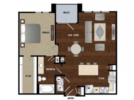 One bedroom one bath, kitchen, kitchen pantry, dinning room, living room, one closet and patio.