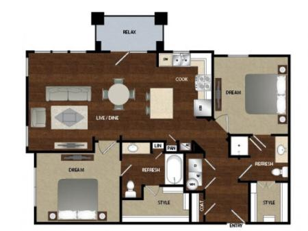 Two bedroom, two bath, kitchen , pantry, coat closet, living room, dinning room, two walk in closets, linen closet and patio.