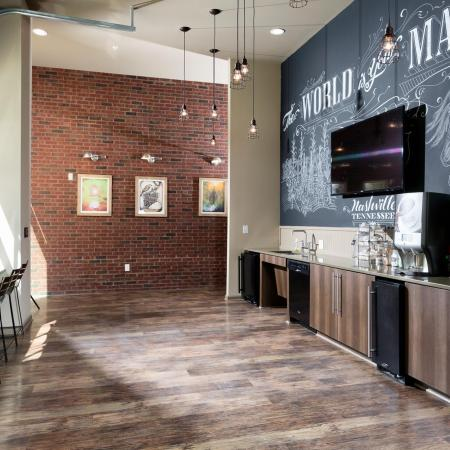 Elegant Community Club House with Bar Seating and Coffee Bar| Nashville TN Apartments | 909 Flats