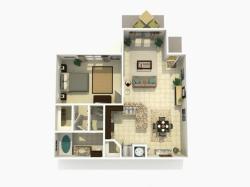 Cypress Premium one bedroom one bathroom 3D floor plan
