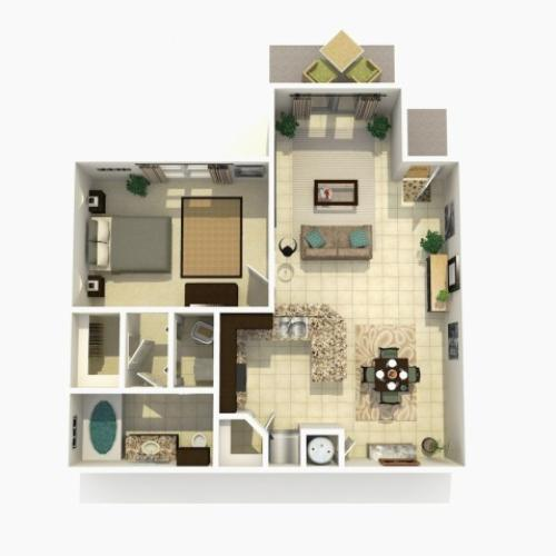 Cypress Premium one bedroom one bathroom 3D floor plan