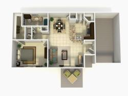 Madrid Premium one bedroom one bathroom with single car garage 3D floor plan